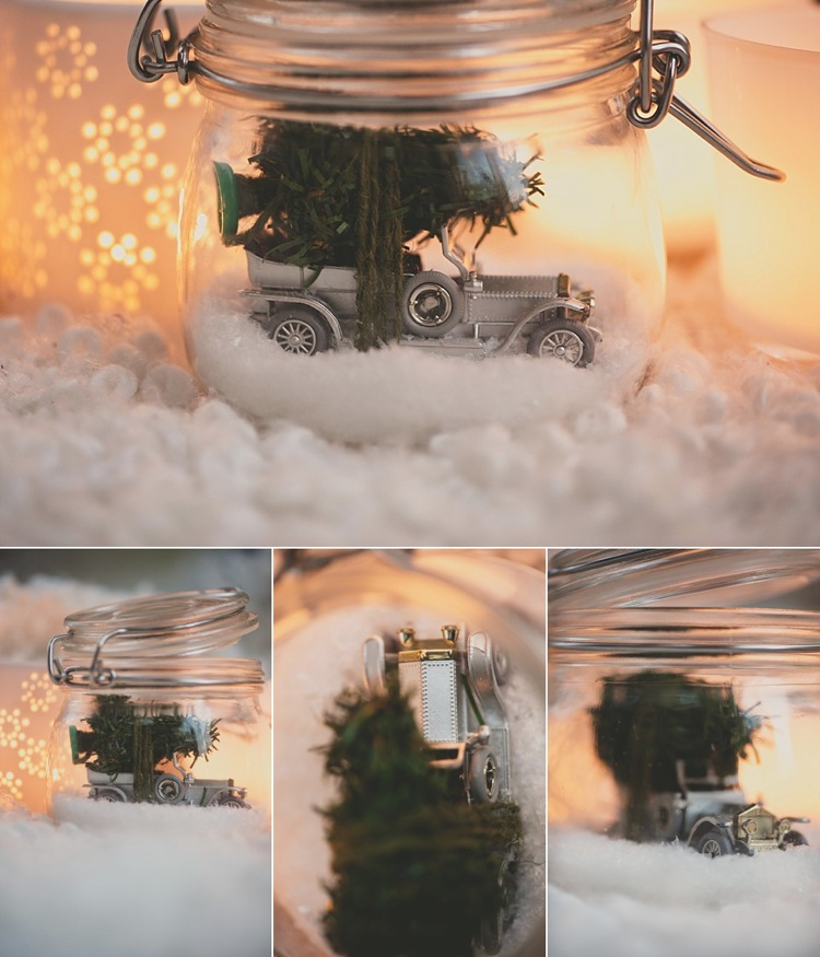 vintage christmas jam jar car tree snow lily sawyer photo