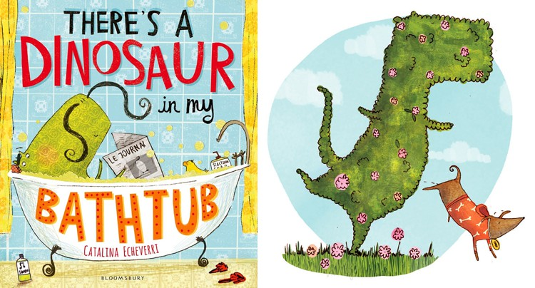 catalina echeverri illustration children's books there's a dinosaur in my bathtub lily sawyer photo