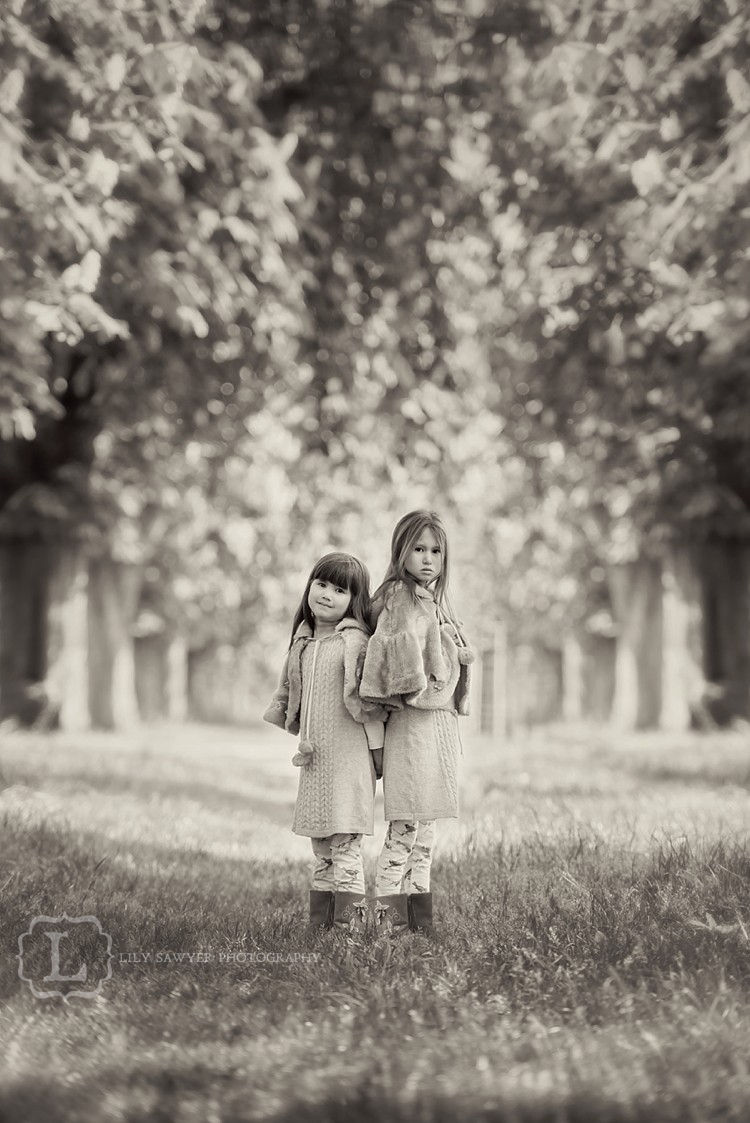 family children girls sisters portraits classic black and white london lily sawyer photo