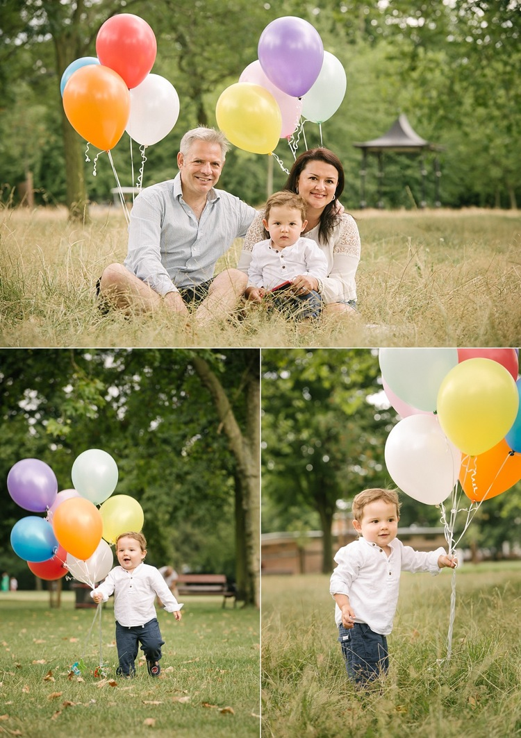 family photoshoot balloons vintage 1 year old boy studio L west ham park london lily sawyer photo