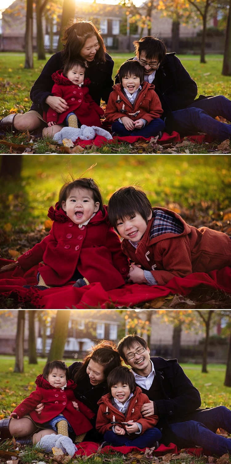 london family autumn winter photoshoot golden hour natural fun relaxed studio west ham park lily sawyer photo