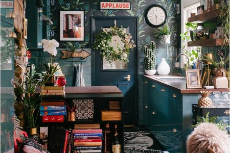 dark-maximalist-blue-kitchen-eclectic-botanical-jungle-lily-sawyer-photo