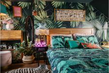 jungle-wallpaper-woodlands-bedroom-nature-dark-eclectic-maximalist-interiors-lily-sawyer-layered-home