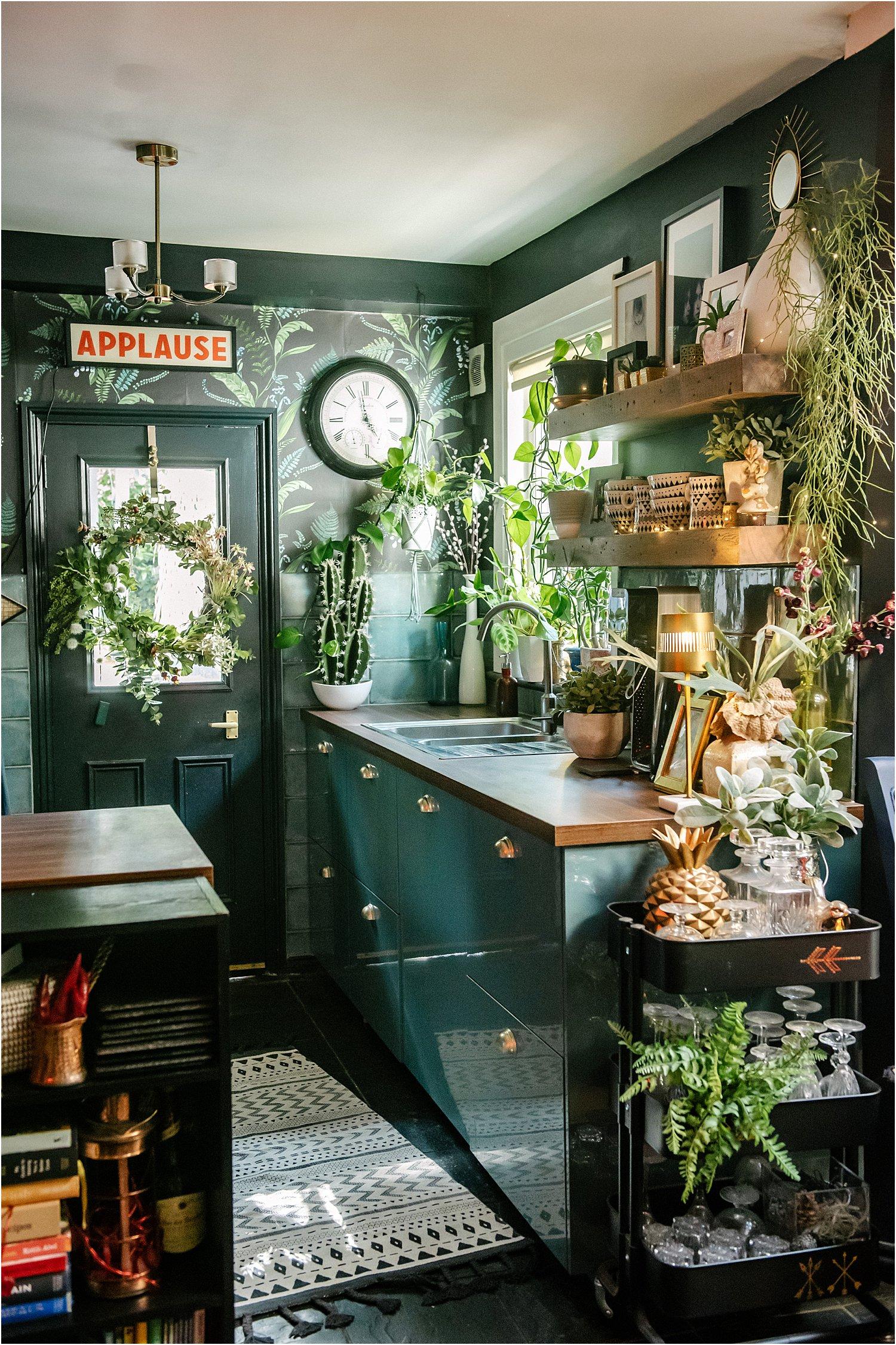 dark-blue-green-kitchen-maximalist-interior-design-wallpaper-moody-layered-home